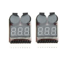 2Pcs 1-8S Indicator RC Li-ion Lipo Battery Tester Low Voltage Buzzer Alarm(China)