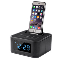 Multifunction Dock Alarm Clock Radio Bluetooth Speaker for iphone with FM tune and Aux in Wireless Speaker Hands free for iphone