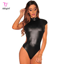 Women Sexy Faux Leather Bodysuit Cutout Mock Neck Fashion Summer Hollow Out Black Leather Teddy Bodysuit Sleeveless For Ladies