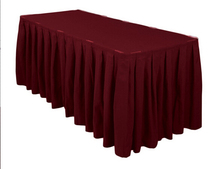 Fedex IE Accordion Pleat Polyester Rectangular 14 ft. Table Skirt Burgundy For Wedding, 10/Pack(China)