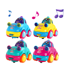 Super Cute!Cartoon Colorful LED Flashing Music Car Toys Baby Early Education Toy Children Birthday Christmas Gifts Color Random