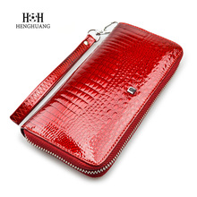 HH Luxury Brand Genuine Leather Women Wallet Alligator Ladies Long Crocodile Cow Leather Clutch Bag Coin Purse(China)
