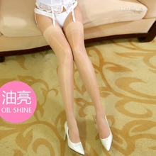 New arrival sexy stockings oil flashing stockings over knee socks thigh high sock smooth thin stockings long socks 0901(China)