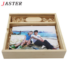 JASTER WOOD Photo Unique Album maple Box usb flash drive Pendrive 8GB 16GB 32GB Photography gift free LOGO (size 170*170*35 mm)