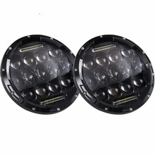 promotion 1 set Round 7inch 75W LED Headlight for Jeep 12V 24V Led DRL Light for Wrangler Hummer Camaro
