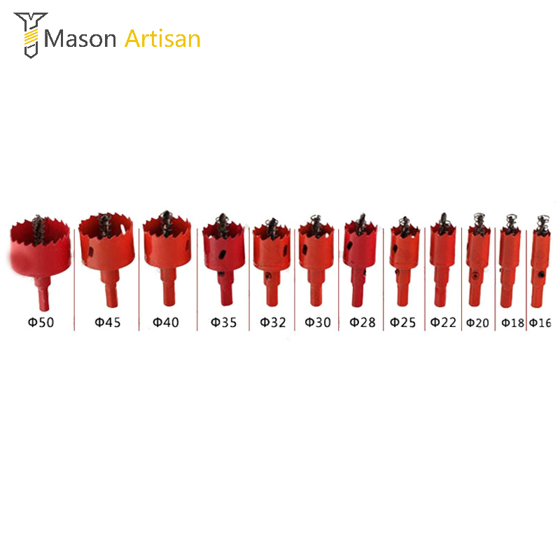 12Pcs 16-50mm Core Twist Drill Bits For Rotary Tools Woodworking Thin Metal Holesaw Cutter Power Tools Accessories Herramientas<br>