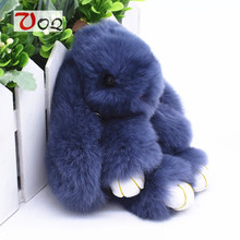 13cm Rabbit Keychain Cute Fluffy Bunny Keychain Rex Genuine Rabbit Fur Key Ring Pom Pom Toy Doll Bag Charm Car Key Holder