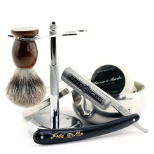 Gold Dollar 66# Straight Razor ZY Alloy Stand Pure Badger Brush Bowl Soap Best Men Xmas Shaving Gift
