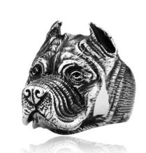 high quality vintage 316L stainless steel pet dog ring for men,British Bulldog ring,men animal jewelry