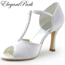 Buy Woman shoes Wedding Shoes MR-001 White Peep Toe Rhinestone T-Strap High Heel Pumps Satin Woman wedding bridal shoes for $42.99 in AliExpress store
