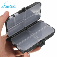 Bobing 11x6x3.5cm 9 Compartments Fly Fishing Lure Bait Hook Beans Tackle Box Case Storage With String Line