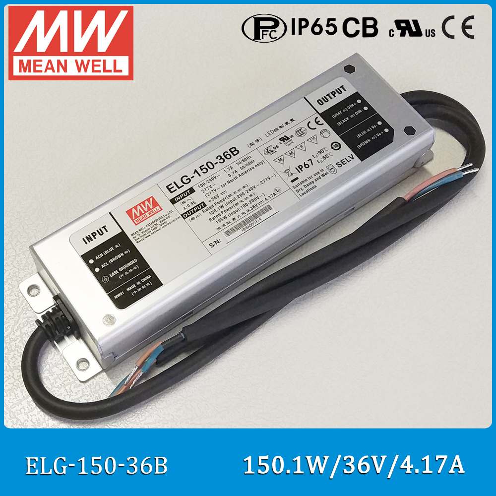 Original Meanwell Power Supply ELG-150-36B 150W 36V 4.71A IP67 Dimming waterproof LED driver ELG-150 B type<br>