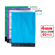 PE Color Mailing Bags Self-Seal Plastic Envelopes Poly Mailer Bags Green Red Yellow Blue White Purple Express bag[40pcs] 4 color(China)