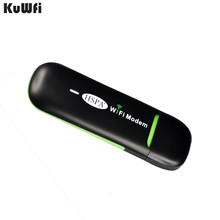 KuWFi 3G USB WIFI Router Pocket Wireless 7.2Mbps USB Mobile Wifi Hotspot Smallest WiFi Modem Router With SIM Card for Bus or Car(China)