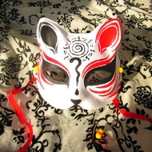 Half Face Hand-Painted Japanese Fox Mask Kitsune Naruto Pattern Cosplay Masquerade for Party Halloween(China)