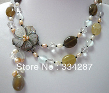 5 colors!fine 2 row mixed pearl & colorful jadestone shell clasp  necklace pendant