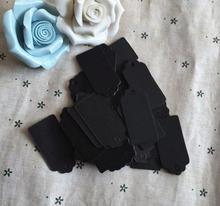 2*4cm Flower heads handmade baking blank price tag black cardboard label Clothing Garment Tags Words paper id card 600 pcs/lot(China)