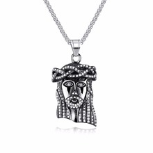Jesus God Pendant Necklaces For Men Religious Design Stainless Steel Gold Color Box Link Chain Male Christmas Gift GX1291(China)