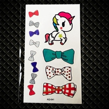 New Cute Unicorn Pony Horse Bow Bowknot Temporary Tattoo Sticker For Kids Children Gift Waterproof Cartoon Tattoo Stickers GAQ41
