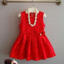 New 2017 Spring Red Kids Dresses For Girls Baby Toddler Dress Girl Princess Dress Kids Party Birthday Dresses For Girls JW1578