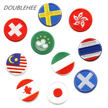 Doublehee Iron On Embroidery Patches Delicate Round Hong Kong Swiss Italy Japan Canda Flag Motif Beauty Applique For DIY Cloth