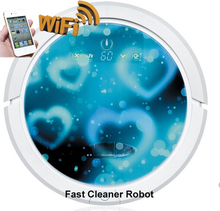 Blue Heart Color Newest WIFI Smartphone App Control Wet And Dry Mop Together Cordless Vacuum Cleaner Robot With Lithium battery(China)