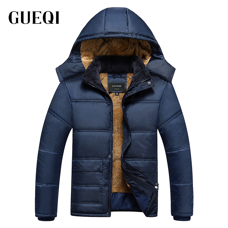 GUEQI Old Man Warm Parkas Size M-2XL Cotton Padded Winter Outerwear 2017 Men Waterproof Hooded JacketsÎäåæäà è àêñåññóàðû<br><br>
