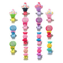 100pcs/lot Colorful Candies Ice Cream Girls Hair Clips Hairpins Hair Accessories Cloth Wrapped Dot Printing Accessory Jewelry(China)