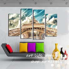 4 Panels Wall Picture New Fashion One of the most popular Tower Together With The Sky Canvas Painting HD Quality Picture(China)