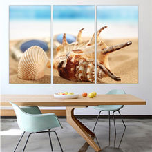 3 Pieces Of Wall Art Deco Oil Paintings Seaview Sea Shells Modern Fashion Picture Print On Canvas Painting for Home Decoration(China)
