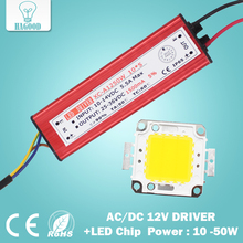 free shipping 10W 20W 30W 50W High Power LED flood Light COB chip + AC / DC 12V input LED floodlight power supply Led driver(China)