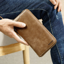 2018 New Trend Vintage Fashion Men Long Wallet Men Split Leather Wallet card holder Male Zipper Purse Coin Purse male clutch bag