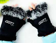 Fashion kpop got7 mittens adjustable black pink cony hair winter gloves unisex guantes high quality