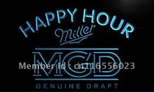 LA632- Miller MGD Beer Happy Hour Bar   LED Neon Light Sign     home decor  crafts
