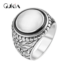Gukin Vintage Jewelry Punk Male Ring Fashion Unique Opal Antique ring Cheap Jewelry Accessories Factory wholesale sales12PCS/LOT