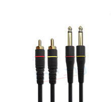 Double 6.5 6.3 6.35 to 2 RCA cable lines to the audio signal amplifier Signal line for Microphone,amplifier,mixer,speakers,sound