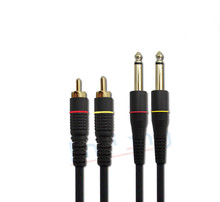 Double 6.5 6.3 6.35 to 2 RCA cable lines to the audio signal amplifier Signal line for Microphone,amplifier,mixer,speakers,sound(China)