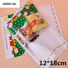 100pcs 12*18m Merry Christmas Tree Dot Candy Bags Food Party Gifts Cake Biscuit Cookies Packaging DIY Disposable Pastry Bag
