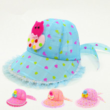 Kids Toddlers Baby Girls Sun Hat spring summer Striped Princess butterfly Cap Bowknot Wind rope Hat 2017