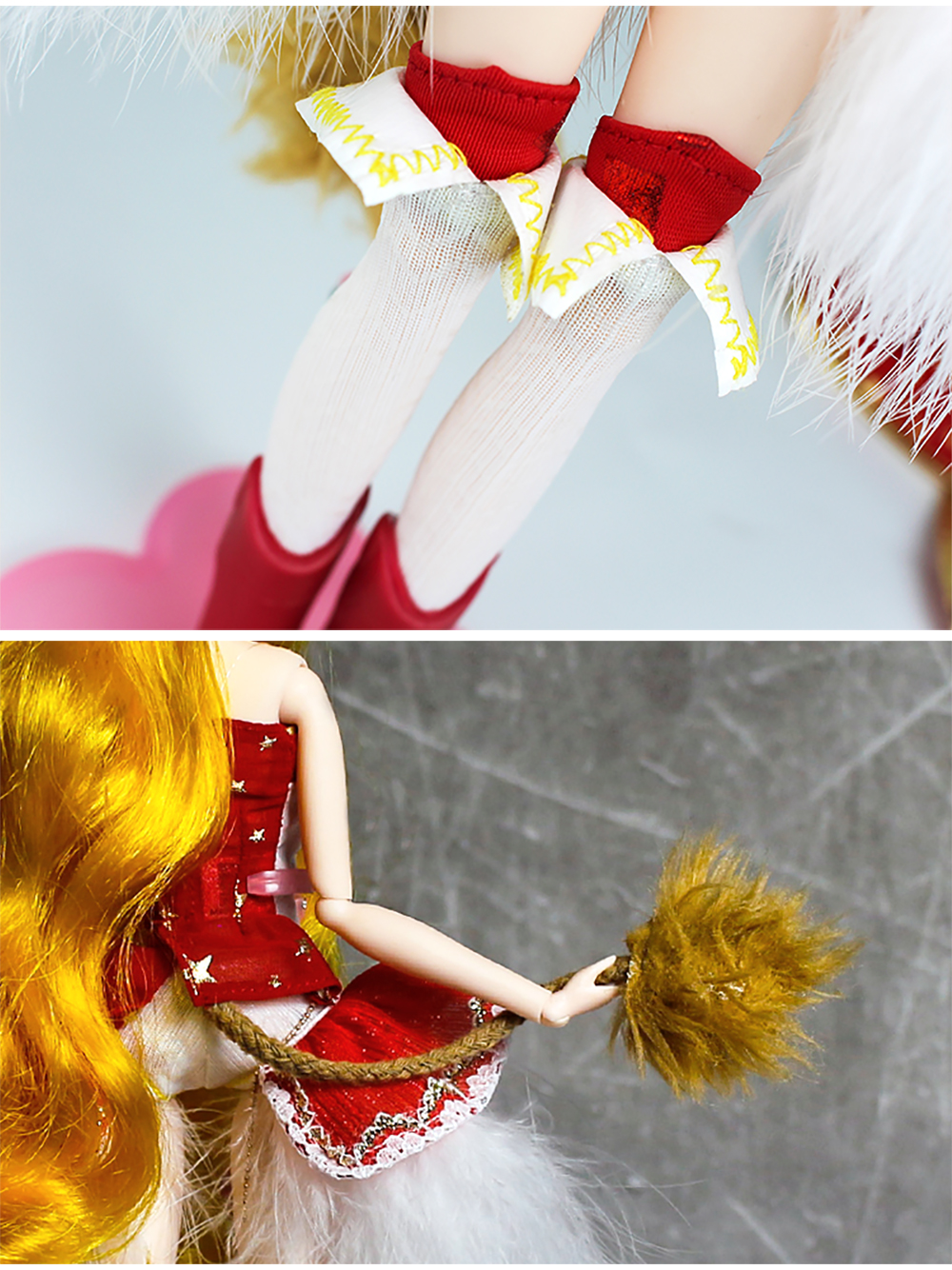 MMG-Girl-fortune-days-BJD-doll-12-constellations-LEO-with-cool-red-outfit-boots-tail-stand (5)