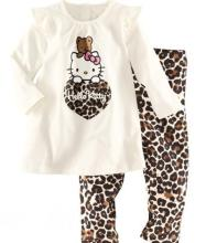 100% Cotton Hello Kitty Kids Baby Pajamas 2 Pieces Clothes Sets Long-sleeved Top+Lleopard Pants(China)