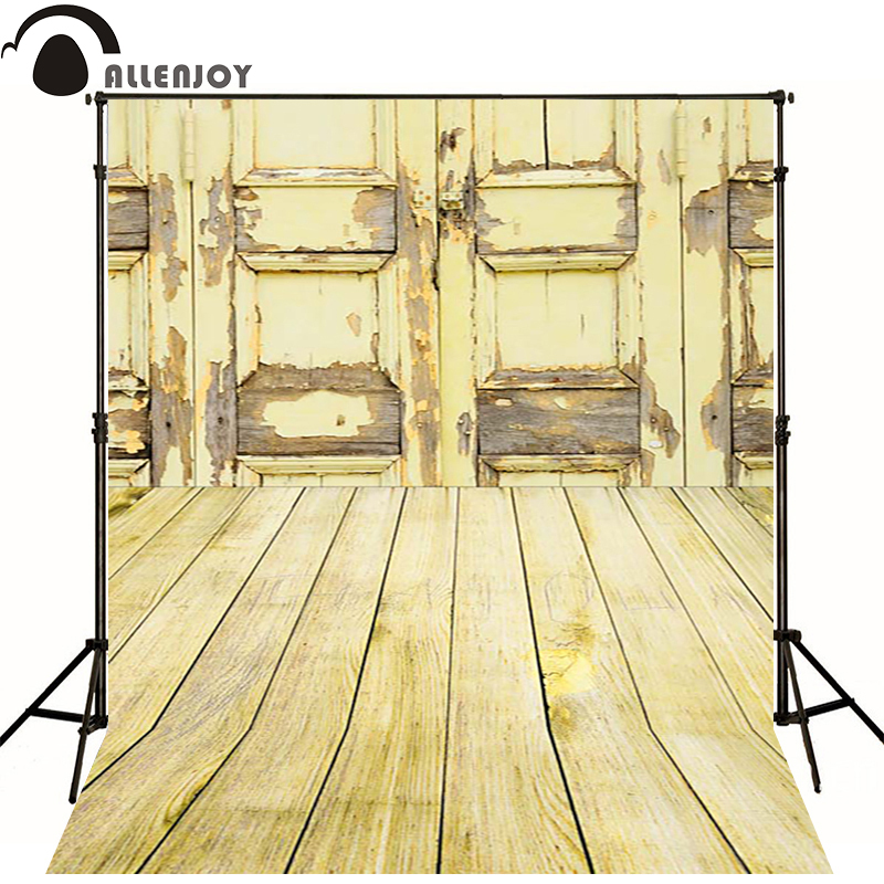 Allenjoy Photographic background Vintage yellow wooden door newborn lovely princess photocall send rolled  wood<br><br>Aliexpress
