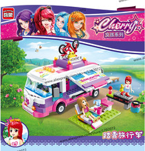 New Model building kits compatible with lego Beauty Outing Bus Car 3D blocks Educational toys hobbies for children