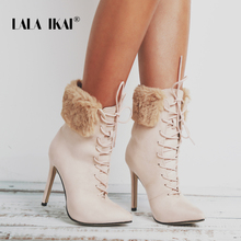 LALA IKAI High Heel Ankle Boots Women Lace-Up Fur Suede Pointed Toe Plush Ladies Winter Boots Shoes 014C2481 -4