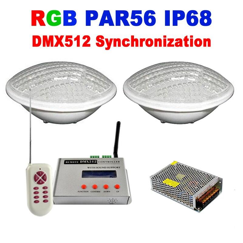PAR56 RGB LED Pool Light 24W 12V IP68 351led Underwater Lights led aquarium lamp fountain with DMX512 Control luces piscina 2pcs<br><br>Aliexpress