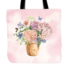 Hydrangea Flowers Printed Tote Bag For Shopping Food Convenience Women Shoulder Canvas Hand Bags Two Sided Printing(China)