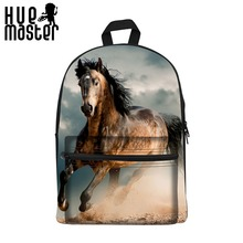 HUE MASTER Horse series pattern leisure backpack  3D printing 15 inch canvas backpack school bags Can store 14 laptop bag pack
