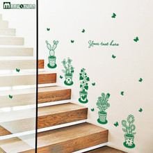 Fresh Green Potted Plant Stickers Factory Direct Glass Doors And Windows TV Background Window Entrance Decoration Wall Stickers
