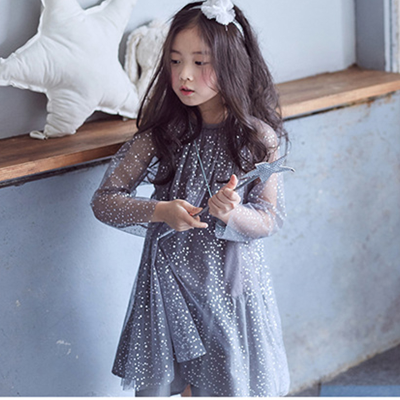 sequined mesh prom dress for girls autumn child kids dresses for girls 2017 party knee length princess dress kids clothes fall<br><br>Aliexpress