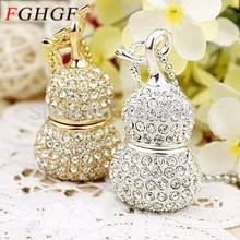 FGHGF Direct Selling crystal Usb Flash Drive Jewelry Diamond Necklace Bottle Gourd Shape pendrive 4GB 8GB 16GB 32GB usb 2.0